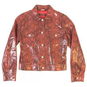Mackage Red Button Front Leather Jacket Snake Skin